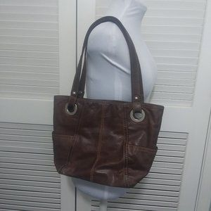 Fossil Chocolate Brown Leather Tote Handbag